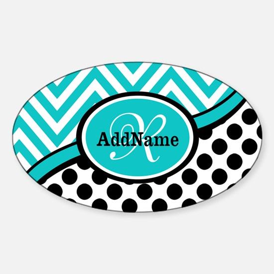 Teal Chevron Black Dots Monogram Sticker (Oval)