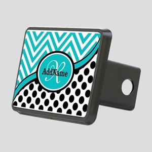 Teal Chevron Black Dots Mo Rectangular Hitch Cover