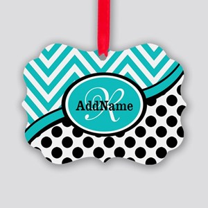 Teal Chevron Black Dots Monogram Picture Ornament
