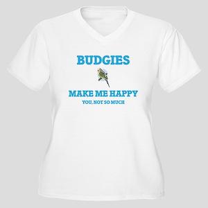 Budgies Make Me Happy Plus Size T-Shirt