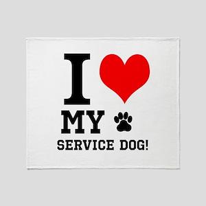 I LOVE MY SERVICE DOG! Throw Blanket