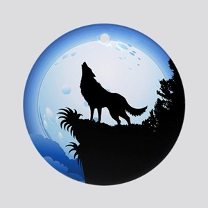 Wolf Howling at Blue Moon Ornament (Round)