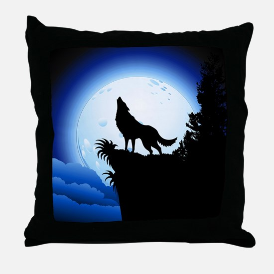 Wolf Howling at Blue Moon Throw Pillow