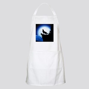 Wolf Howling at Blue Moon Apron