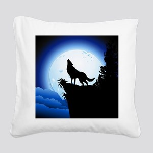 Wolf Howling at Blue Moon Square Canvas Pillow