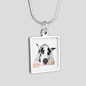Great Dane Shy Harlequin Silver Square Necklace