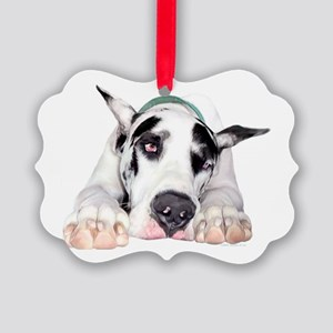 Great Dane Shy Harlequin Picture Ornament