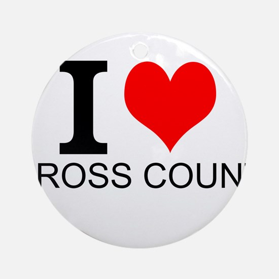 I Love Cross Country Ornament (Round)
