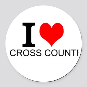 I Love Cross Country Round Car Magnet