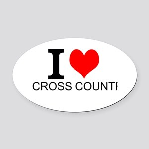 I Love Cross Country Oval Car Magnet