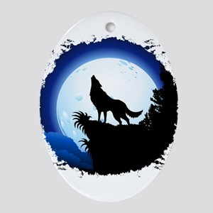 Wolf Howling at Blue Moon Ornament (Oval)