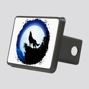 Wolf Howling at Blue Moon Hitch Cover