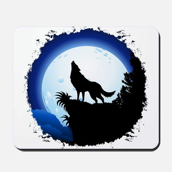 Wolf Howling at Blue Moon Mousepad