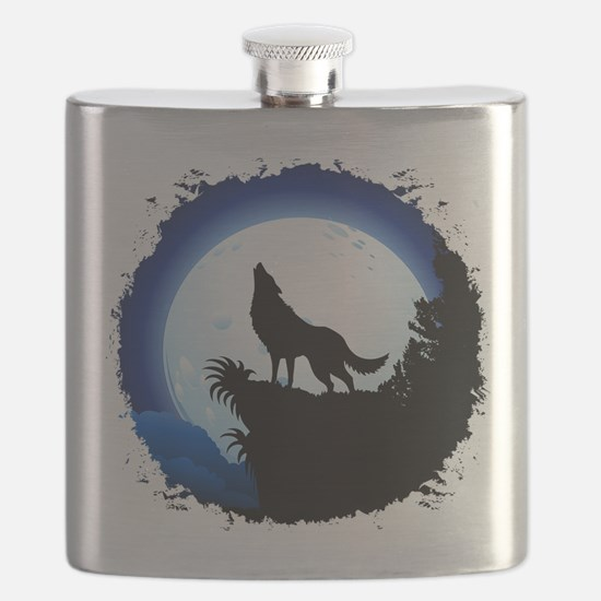 Wolf Howling at Blue Moon Flask