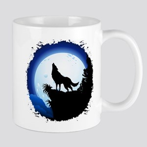 Wolf Howling at Blue Moon Mugs