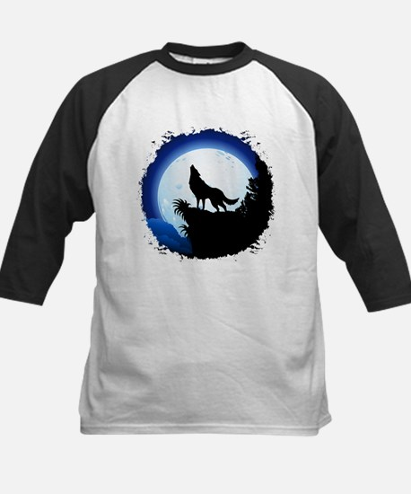 Wolf Howling at Blue Moon Baseball Jersey