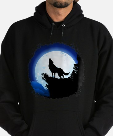 Wolf Howling at Blue Moon Hoodie