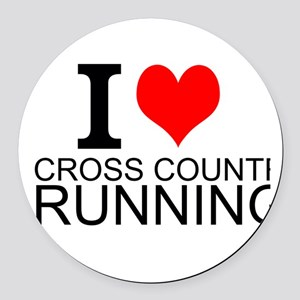 I Love Cross Country Running Round Car Magnet