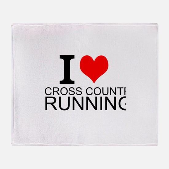 I Love Cross Country Running Throw Blanket