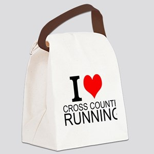 I Love Cross Country Running Canvas Lunch Bag