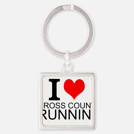 I Love Cross Country Running Keychains