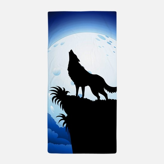 Wolf Howling at Blue Moon Beach Towel