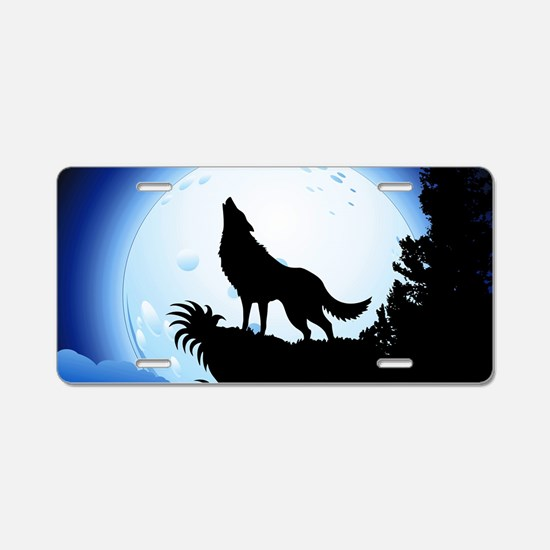 Wolf Howling at Blue Moon Aluminum License Plate