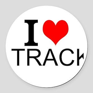 I Love Track Round Car Magnet