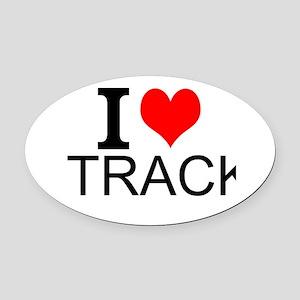 I Love Track Oval Car Magnet