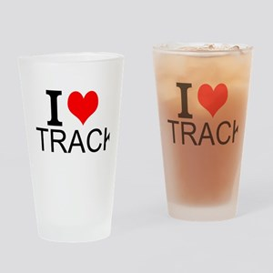 I Love Track Drinking Glass