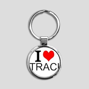 I Love Track Keychains