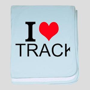I Love Track baby blanket