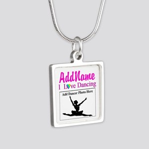 DANCING PHOTO Silver Square Necklace