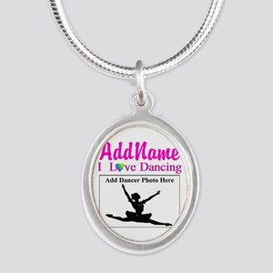 DANCING PHOTO Silver Oval Necklace