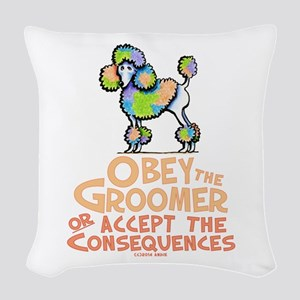 Obey The Groomer Woven Throw Pillow