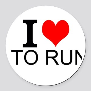 I Love To Run Round Car Magnet