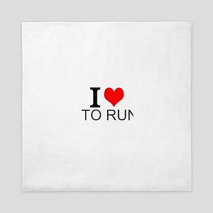 I Love To Run Queen Duvet