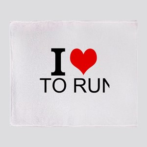 I Love To Run Throw Blanket