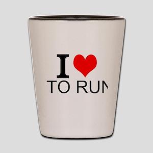 I Love To Run Shot Glass