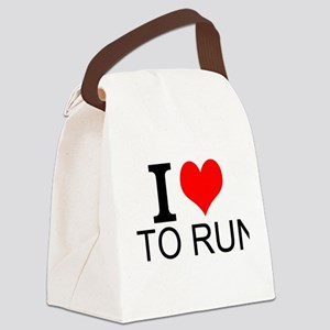 I Love To Run Canvas Lunch Bag