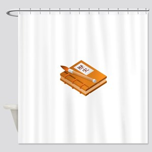 Chinese Character Books Pencil Shower Curtain