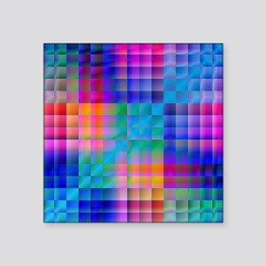 "Rainbow Quilt Square Sticker 3"" x 3"""
