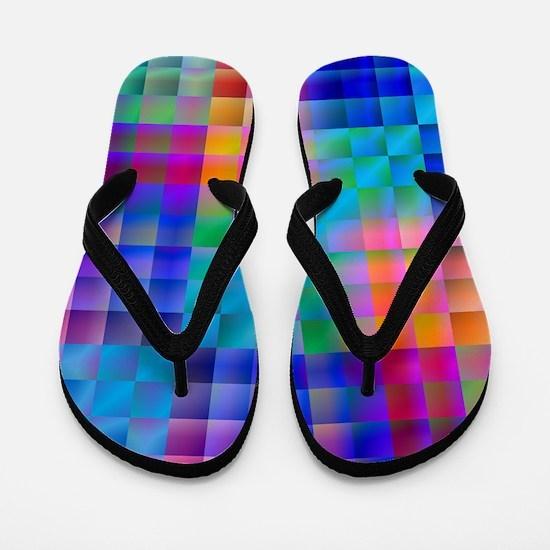 Rainbow Quilt Flip Flops