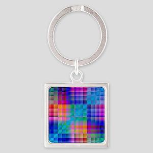 Rainbow Quilt Square Keychain