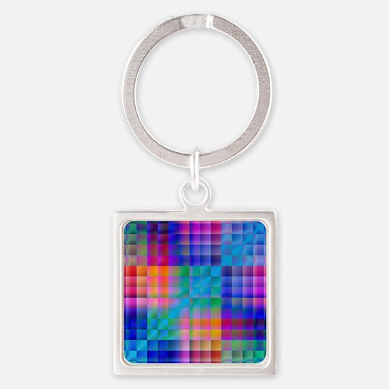 Rainbow Quilt Square Keychain