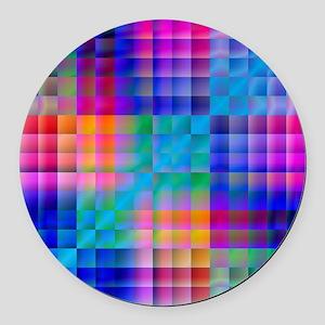 Rainbow Quilt Round Car Magnet
