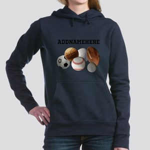 Sports Balls, Custom Name Women's Hooded Sweatshir
