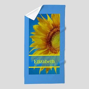 Personalized Sunflower Beach Towel