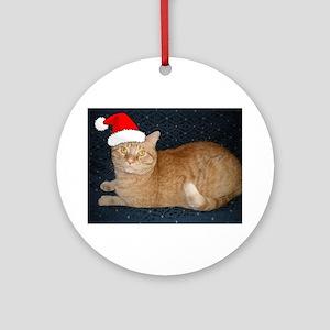 Christmas Orange Tabby Cat Ornament (Round)