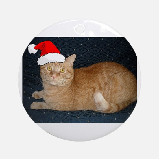 Christmas Orange Tabby Cat Ornament (Round)